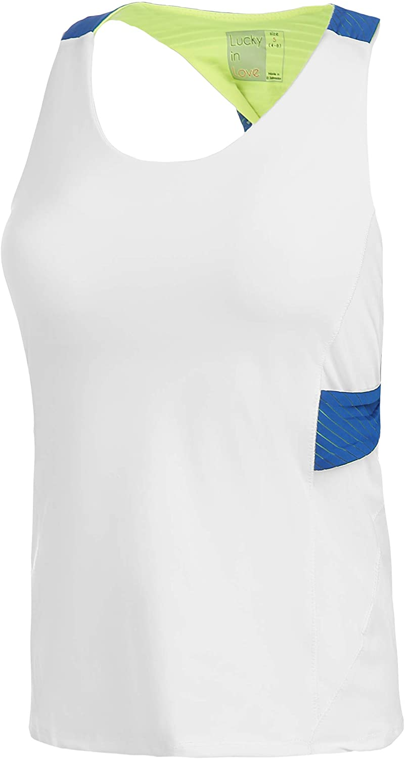 Lucky In Love Axis Point Active Fit Twist Back Tank - White