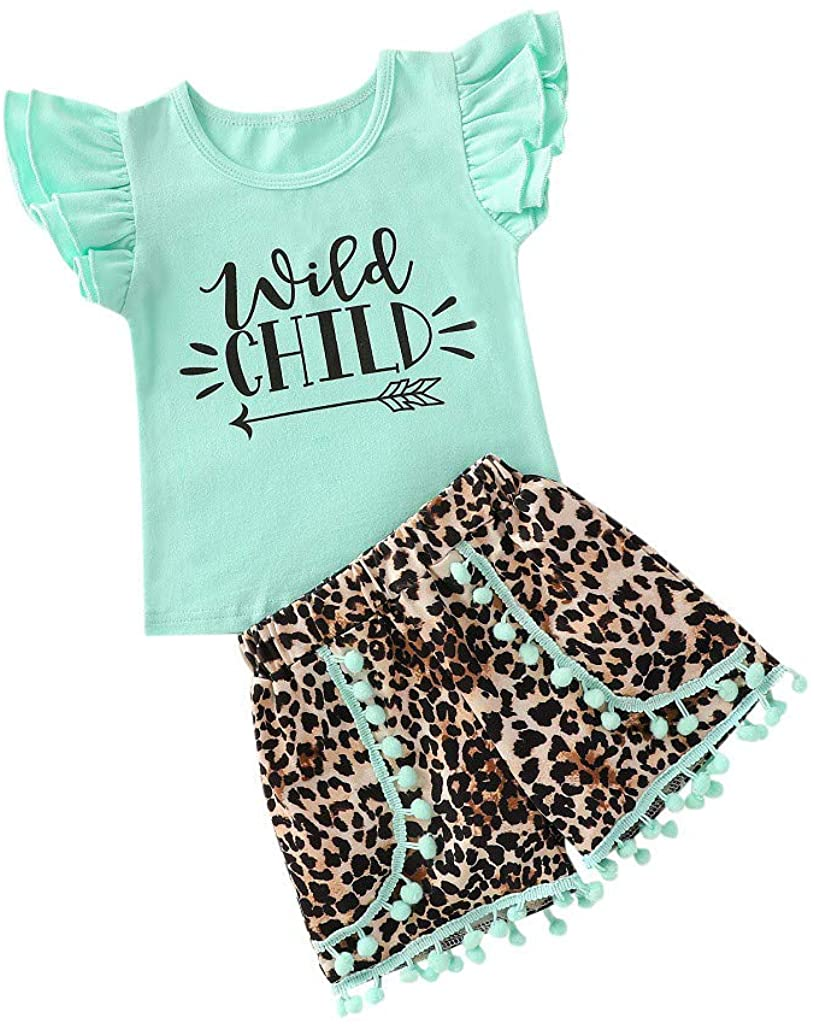 Adeliber Toddler Kids Baby Girls Letter T Shirt Tops Leopard Print Shorts Outfits Set