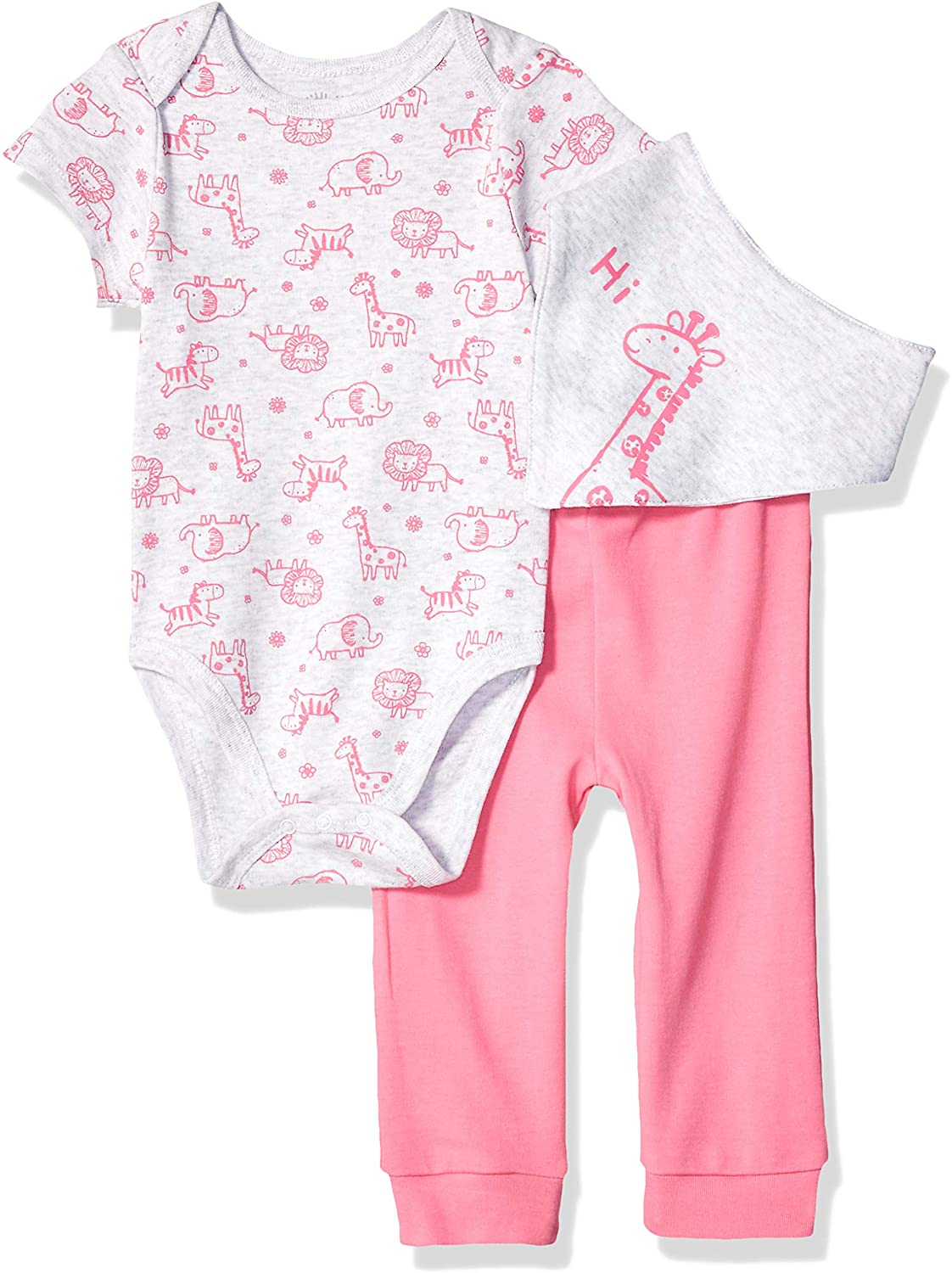 Little Me Baby Girl's 3 Piece Bandana Bib Pant Set Pants