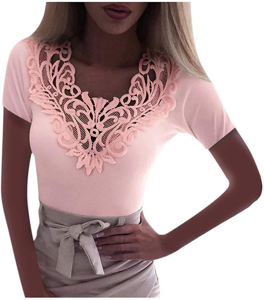 SONIGER ʕ•ᴥ•ʔWomens Floral Lace Hollow V Neck Short Sleeve Crew Neck Solid Casual Shirt Elegant Blouse Tunics Pullover