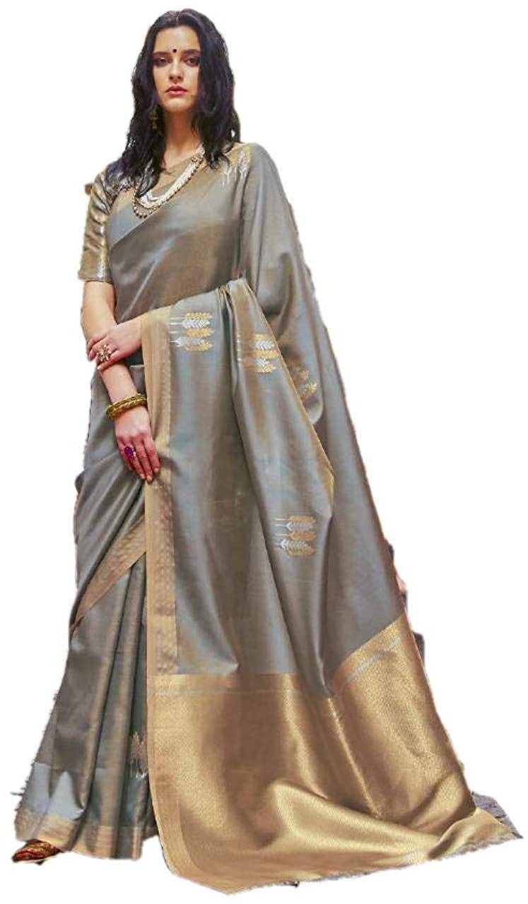 Indian Wedding Silk Designer Banarasi Silk Sari New Year Special Party Wear Banarasi Silk Saree N 417 Grey