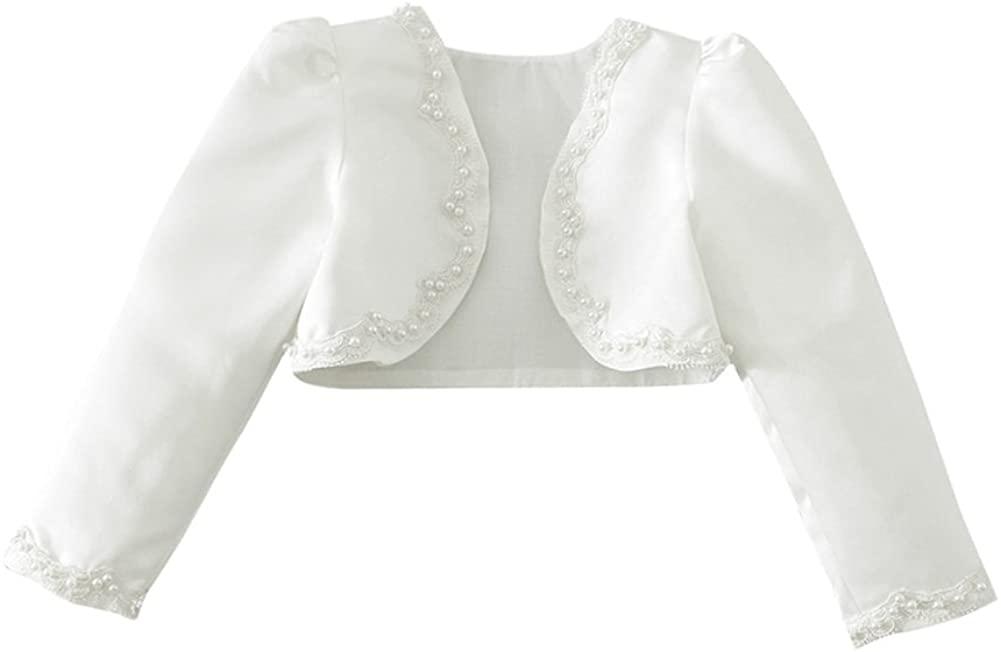 zdhoor Kids Girls Long Sleeves Bolero Beaded Cardigan Shrug Jacket Short Cardigan Wedding Party Dress Cover Up