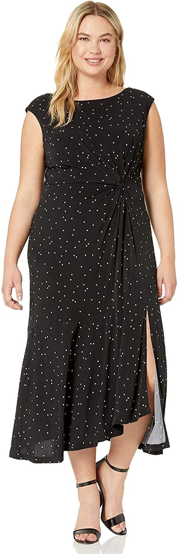 Gabby Skye Women's Plus Size Cap Sleeve Round Neck Ity A-line Midi Dress