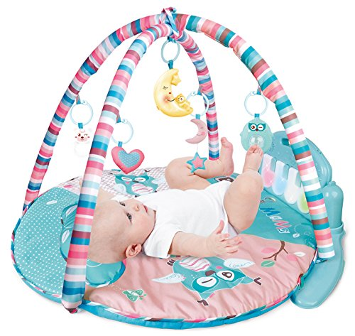 PLS Baby Kick and Play Piano Playmat, (Circular, Light Blue) Baby Toys, Battery Included, For 6 to 12 Months Old, Interactive, Activity Toys, Lights and Sounds