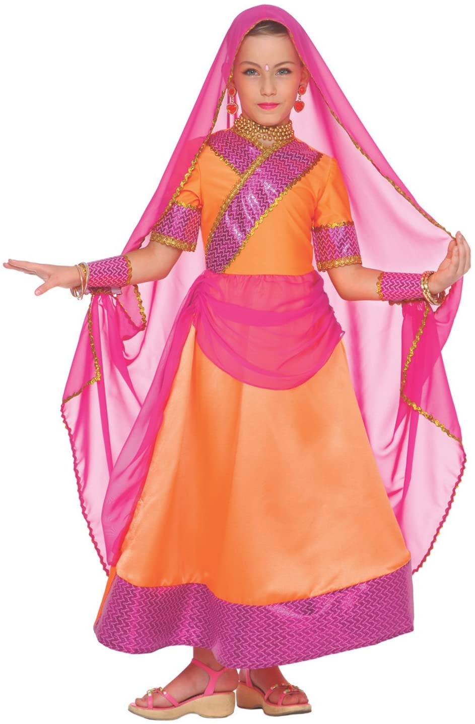 Girls Indian Bollywood Dance Costume for Kids Hindi Quality Fancy Dress – Large (Age 9-11)
