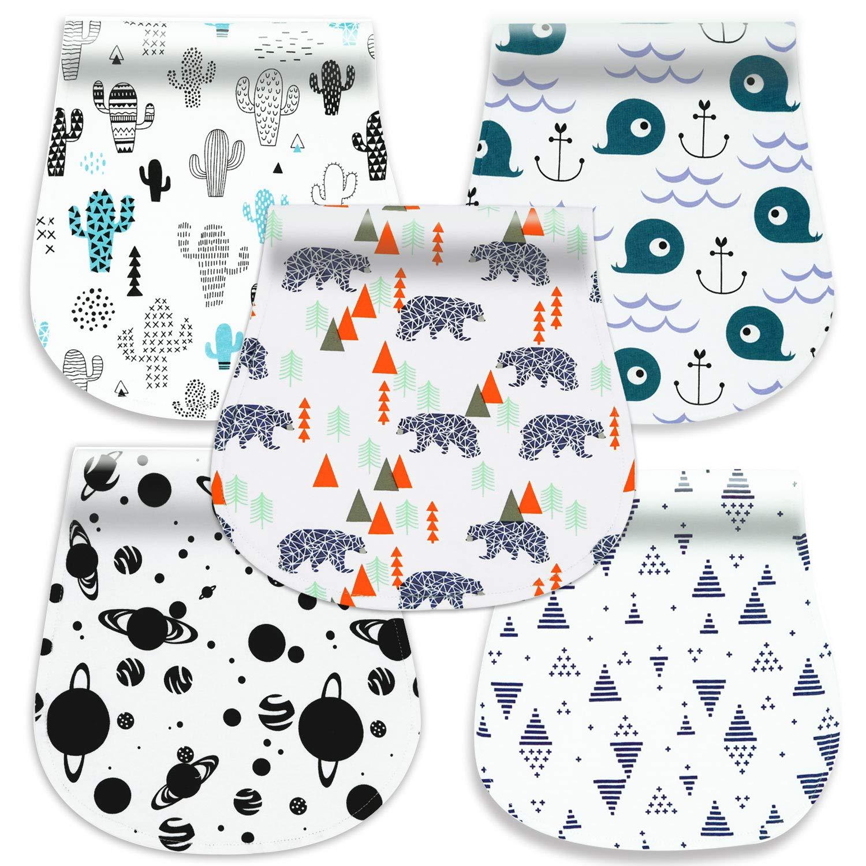 5-Pack Baby Burp Cloths, 100% Organic Cotton Soft Absorbent Burp Rags for Boys Girls