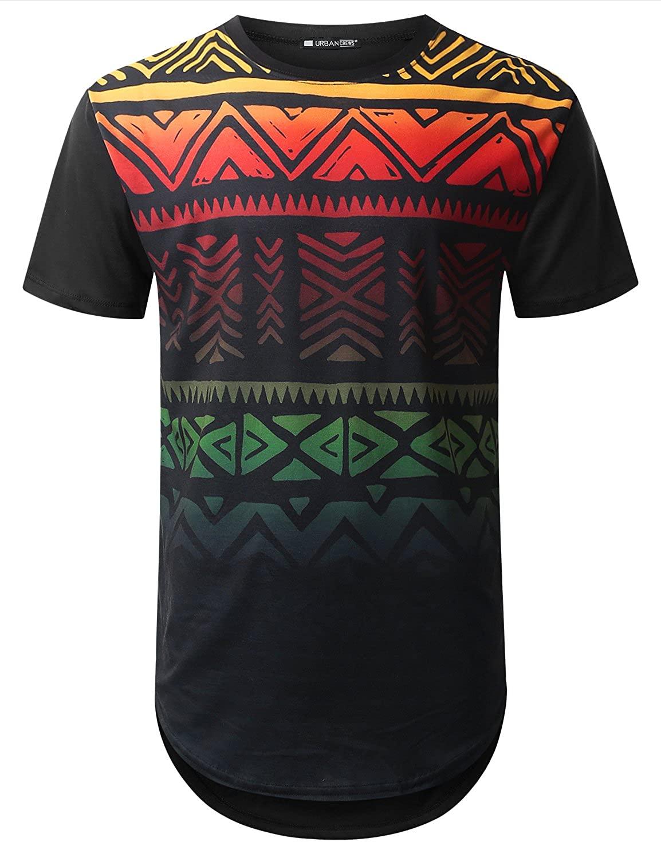 URBANTOPS Mens Hipster Hip Hop Graphic Aztec Longline T-Shirt (Various Styles)