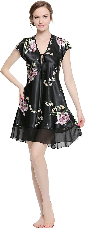 Lavenderi Women's Printed Satin Nightgown, Silky Sleeveless Nightdress