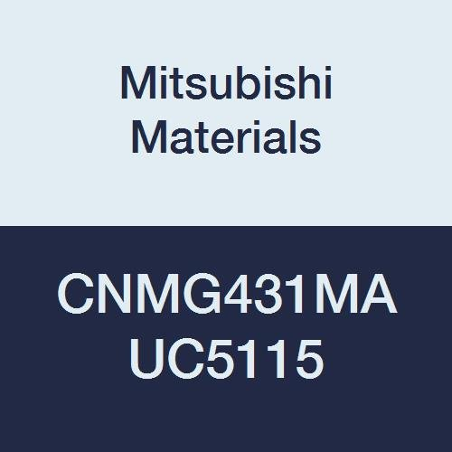 Mitsubishi Materials CNMG431MA UC5115 Coated Carbide CN Type Negative Turning Insert with Hole, Rhombic 80°, Grade UC5115, 0.5