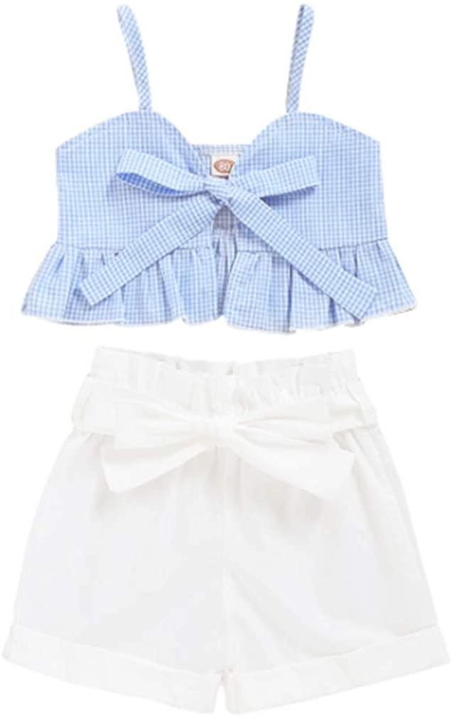 AYIYO Toddler Baby Girl Short Outfit Sleeveless Crop Top Ruffle Short Pants Summer Clothes Set