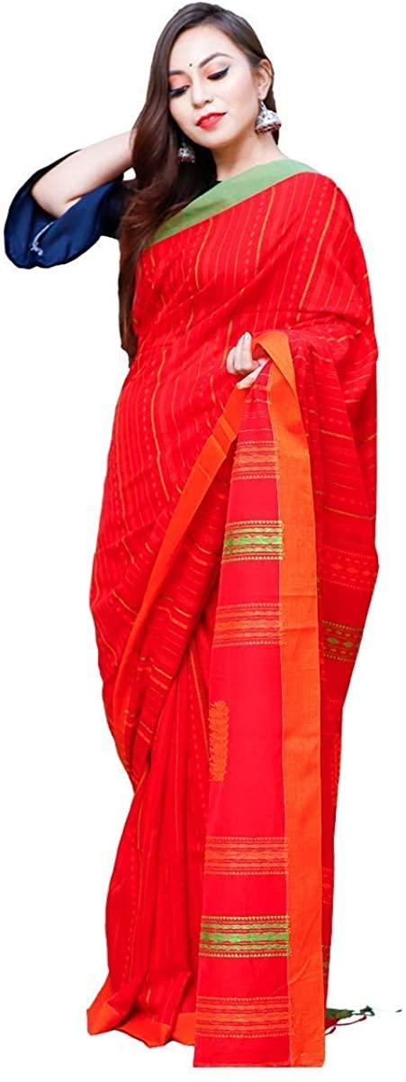 Women's Indian Handloom Kantha Work Saree (Red)