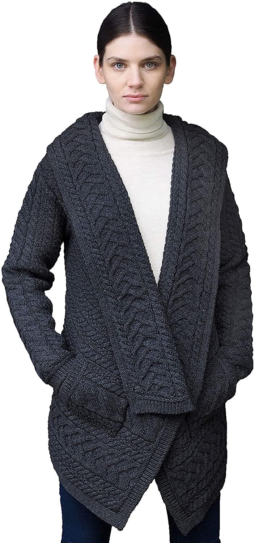 Aran Crafts Women's Irish Cable Knitted Waterfall Cardigan (100% Merino Wool)