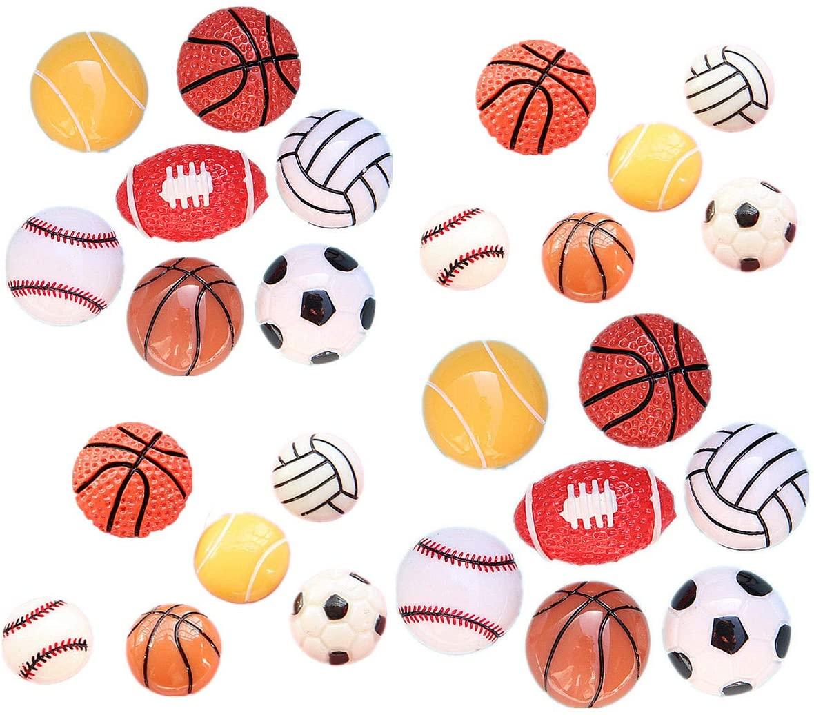26Pack Assorted Sport Ball Charms Basketball Football Tennis Baseball Volleyball Resin Flatback Beads for Craft Making Miniature Fairy Garden Accessories Scrapbooking Phone Case DIY