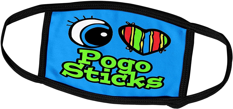 3dRose Dooni Designs Eye Heart I Love Designs - Bright Eye Heart I Love Pogo Sticks - Face Masks (fm_106417_2)