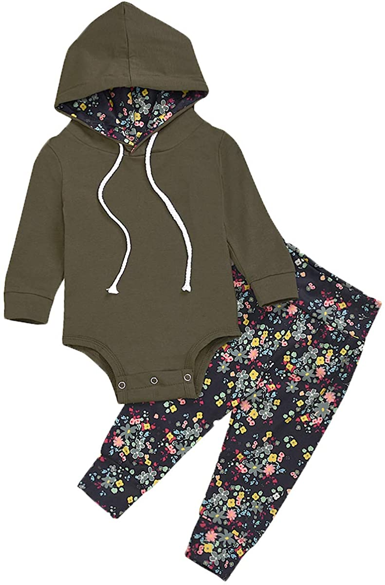 Toddler Newborn Baby Girl Outfits Army Green Hoodie Romper Tops + Floral Pants Spring Clothes Set