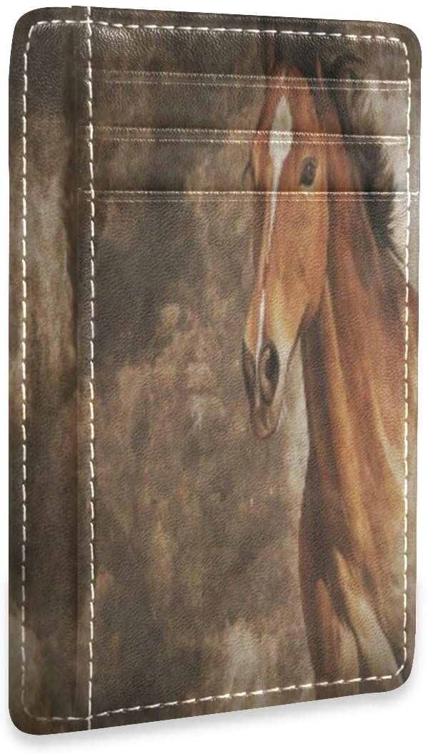 Vintage Horse Animal Art Retro Slim RFID Credit Card Holder Case Leather Cardholder Wallet Men Women