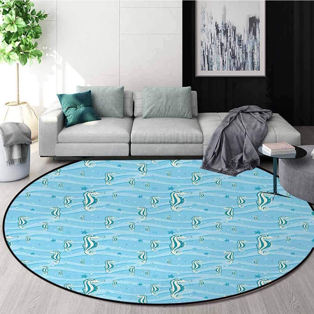 DESPKON-HOME Animal Round Area Rug,Cartoon Like Seahorses for Kids Nursery Baby Girls Boys Childish Playroom Nautilus Design Non-Slip Fabric Round Rugs for Bedroom Diameter-51 Inch,Blue