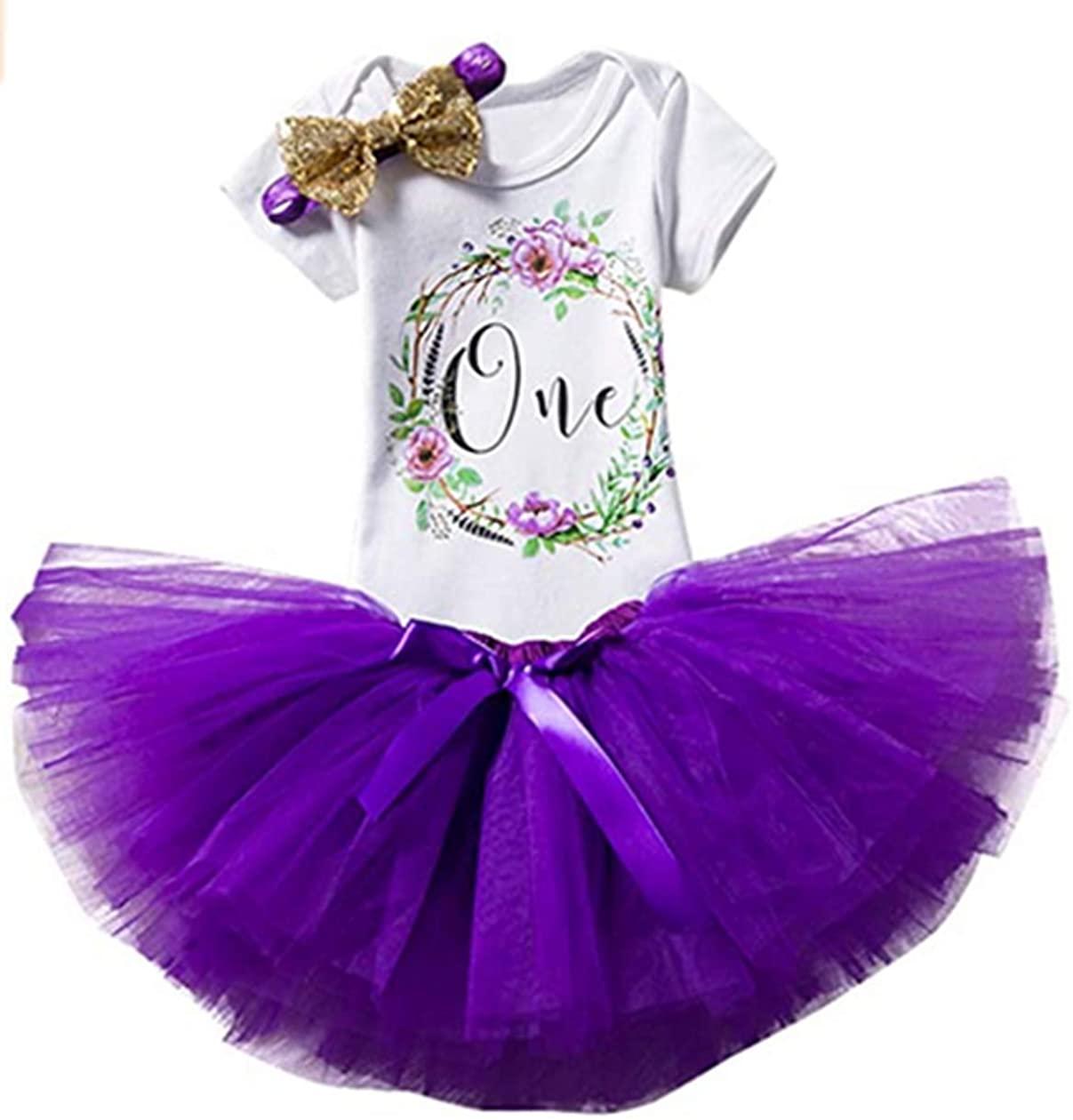 Newborn Girls 1st Birthday Outfit Ruffled Floral One Romper Tutu Skirt+Headband Dress First Birthday Girl Outfit