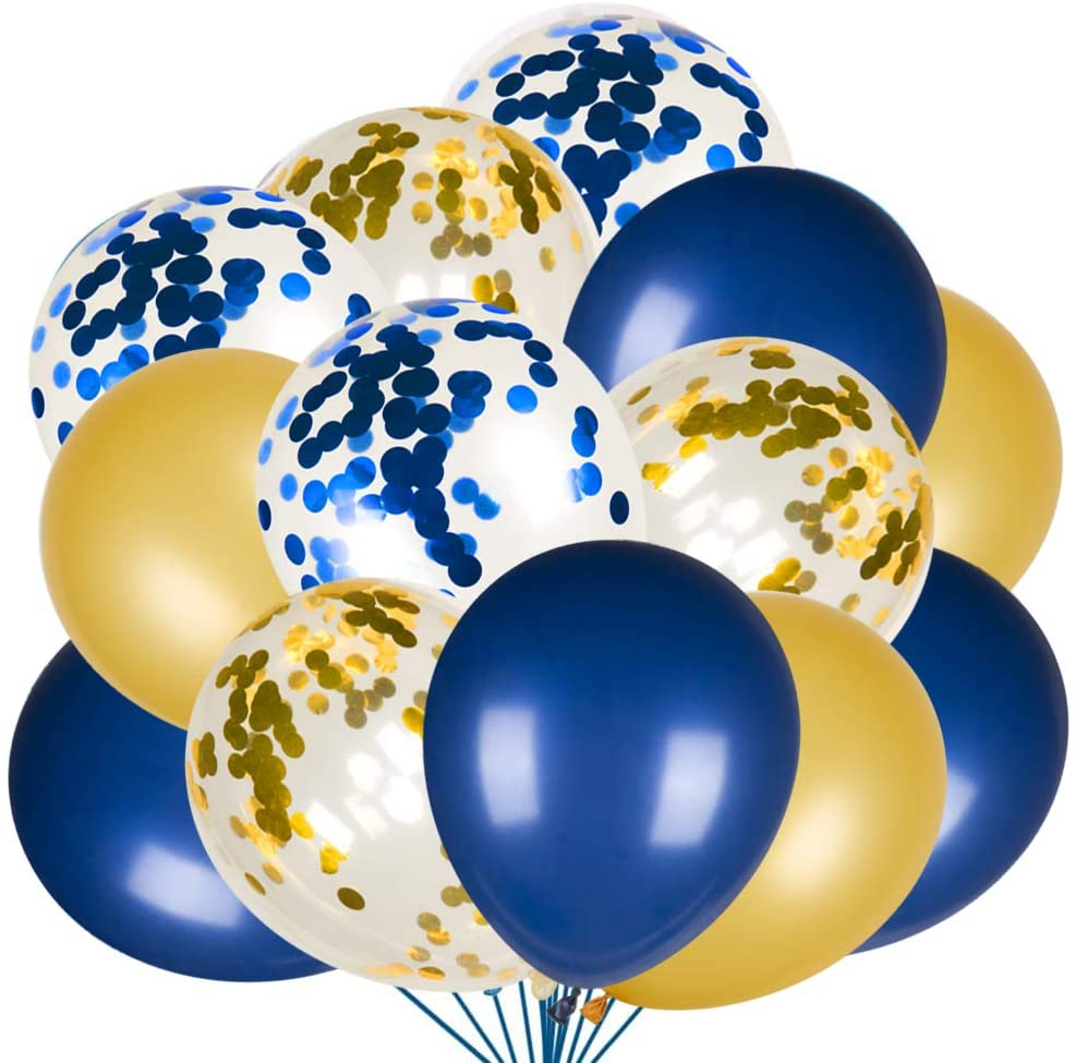 Navy Blue and Gold Balloons Set with Latex Confetti Balloons for Baby Shower, Wedding, Balloon Garland Arch, Birthday Party Decorations Supplies (80 Packs)
