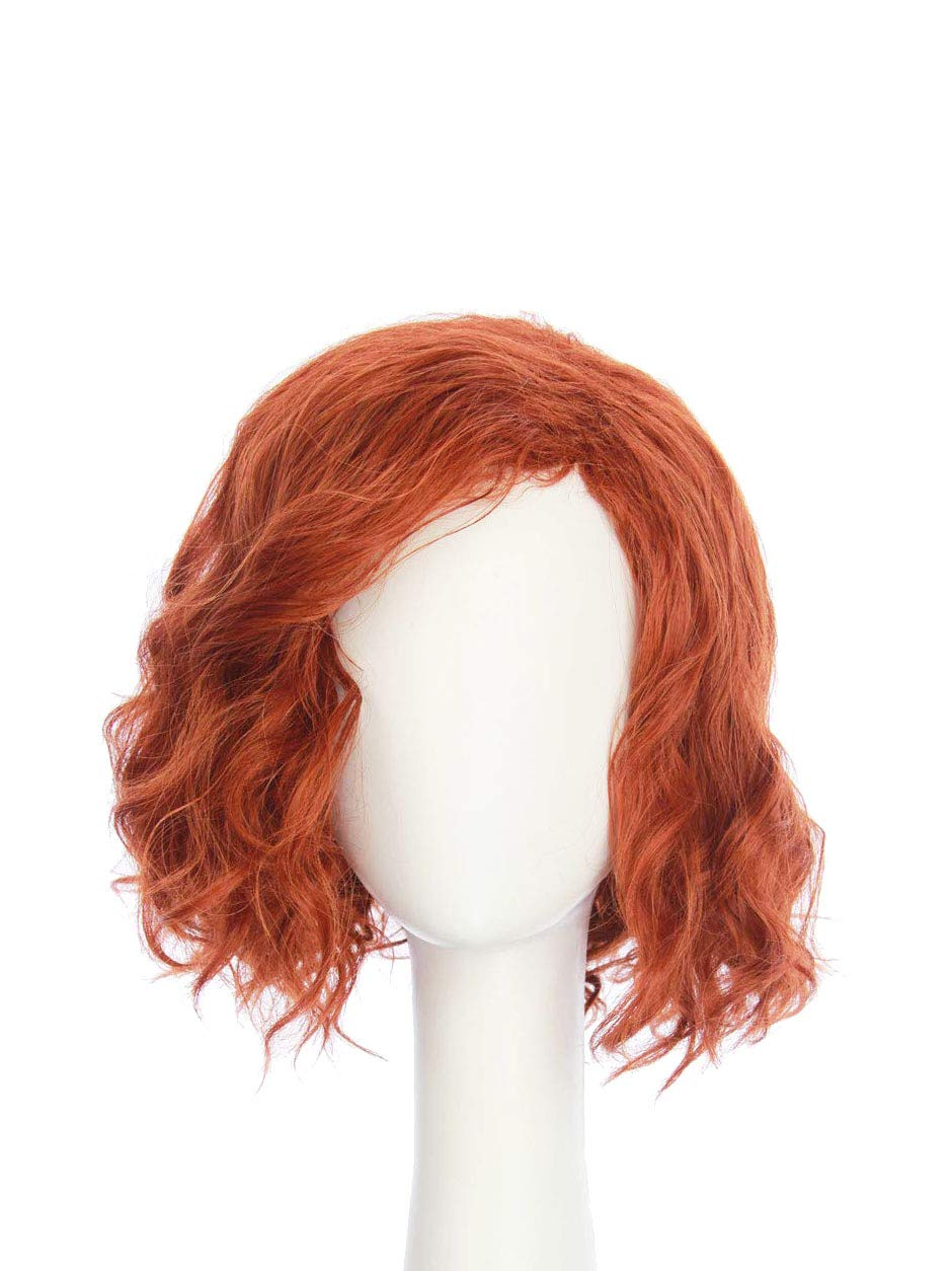 HANGCosplay:Short Curly Wavy Red Wig for Adults and Teens Costume Halloween Club Party and Daily Use Black Widow Cosplay