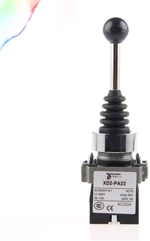 Monolever Switch XD2PA22 CR AC 600V 10A DPST 2NO 3 Position Momentary Schwarz