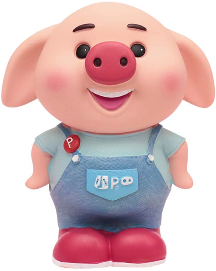 GE&YOBBY Pig Cartoon Money Box,Creative Adorable Resin Piggy Bank for Birthday Gift Home Decor-a 7x9inch