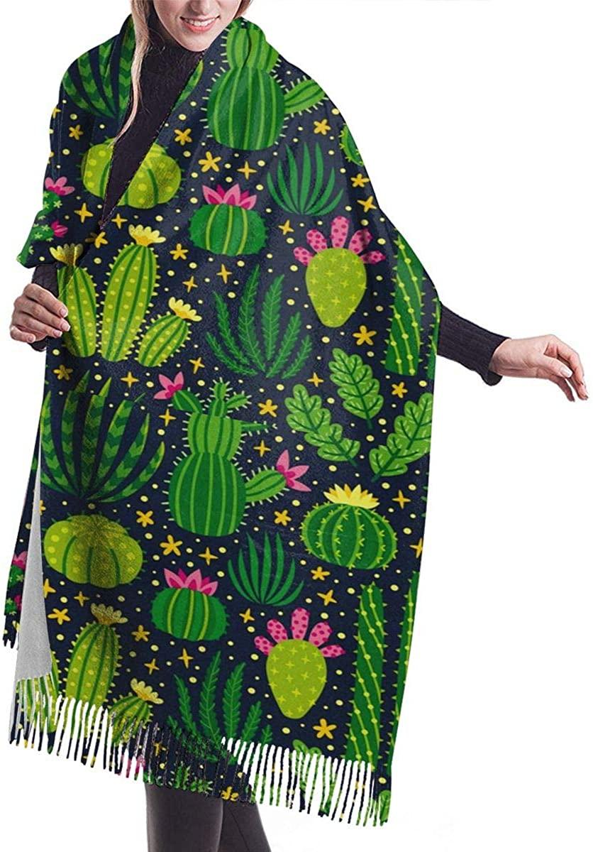 Cactus Plant Summer Womens Winter Warm Scarf Fashion Long Large Soft Cashmere Shawl Wrap Scarves