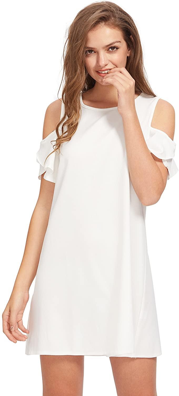 Milumia Women's Summer Cold Shoulder Ruffle Sleeves Shift Dress