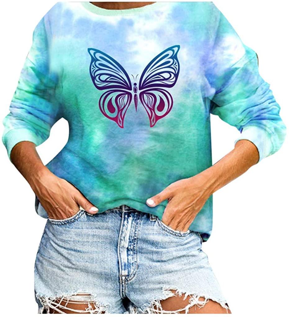 Soluo blousesWomen Tie Dye Causal Pullover Long Sleeve Round Neck Sweatshirt Top Blouse
