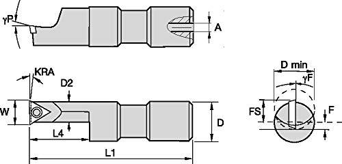 WIDIA WIDIA Circle SSOI5001000150R SSOI Small Hole Boring Bar for Turning, 0° Angle, Steel, Offset Boring Bar Shank, 1 Shank Diameter, Right, 3.75 Length