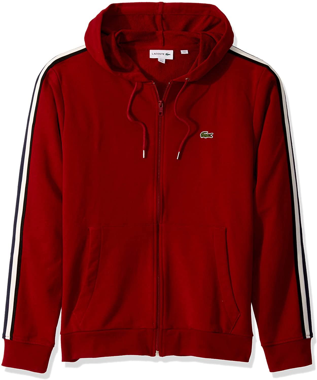 Lacoste Mens Long Sleeve Fleece With Stripe Sweatshirt