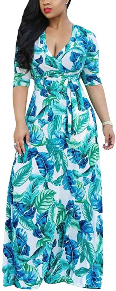 Henwerd Women Plus Size Short Sleeve V Neck Maxi Dress Boho Casual Floral Print Beach Party Long Dresses