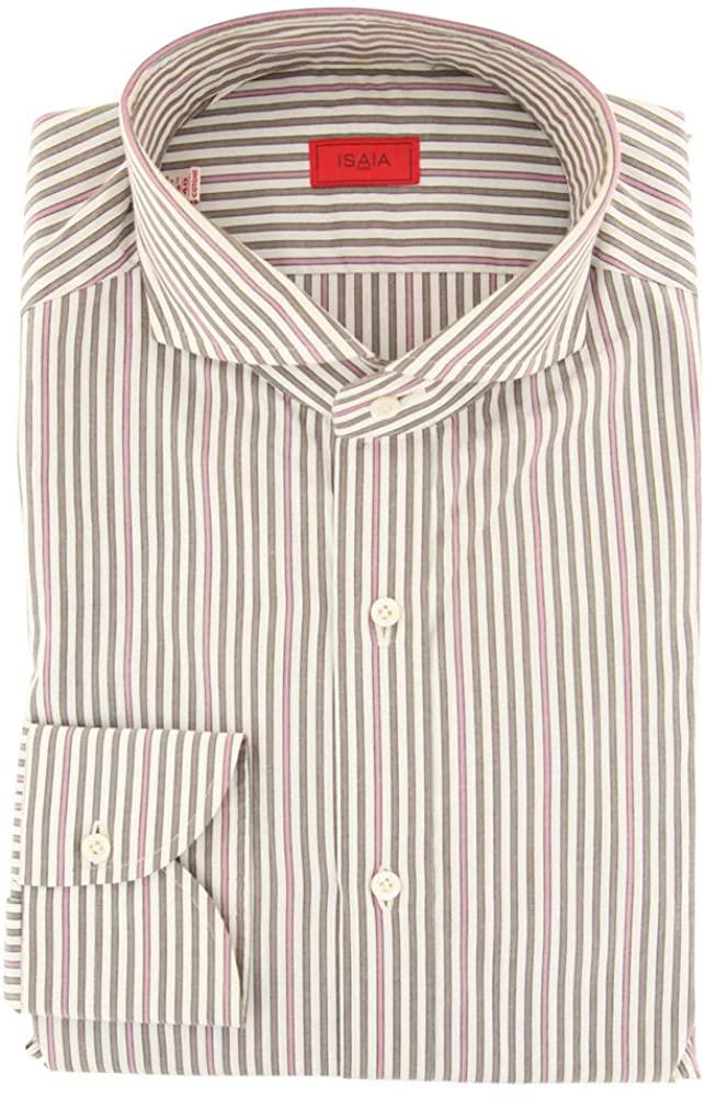 Isaia Stripes Button Down Cutaway Collar Cotton Slim Fit Dress Shirt