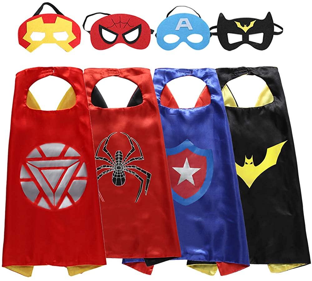 Zaleny Superhero Kids Dress up Costumes 4 Satin Capes 4 Felt Masks Blue