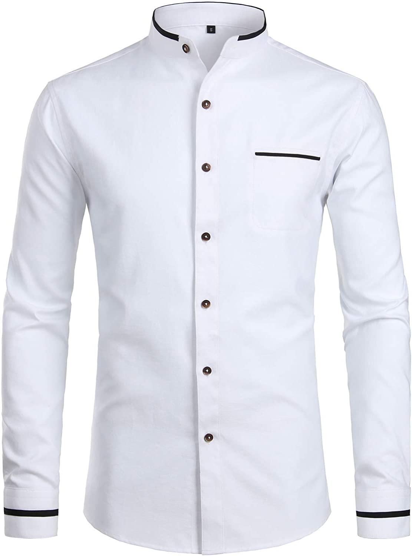 ZEROYAA Mens Hipster Mandarin Collar Slim Fit Long Sleeve Casual Button Down Oxford Dress Shirt with Pocket