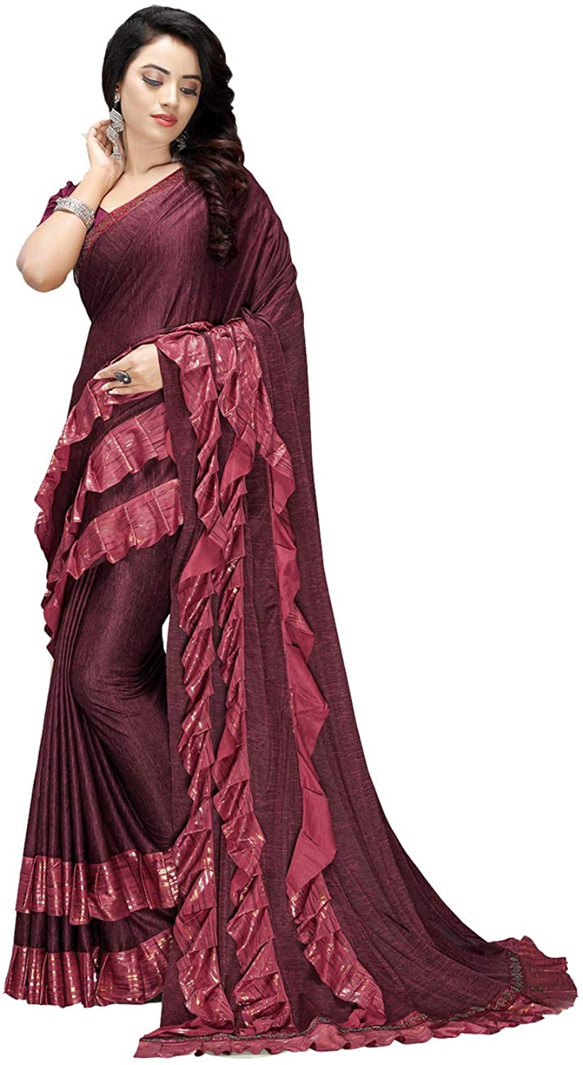 Indian Saree for Women Ethnic Sari Maroon Imported Fabric Sari with Unstitched Blouse. ICW2713-10