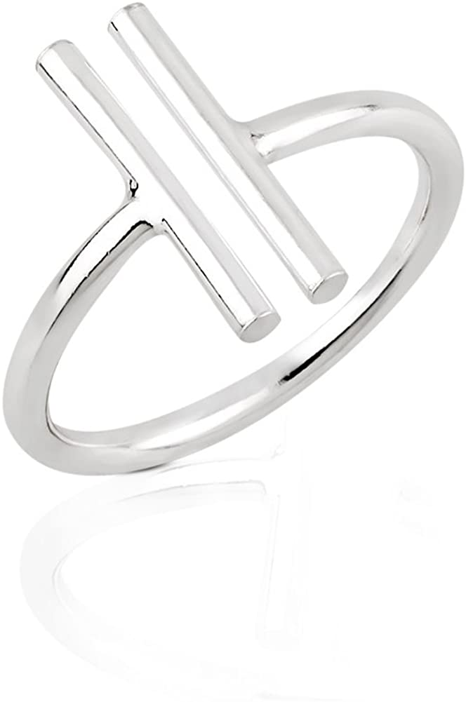 925 Sterling Silver Modern Minimalist Two (2) Vertical Simple Bar Statement Ring 15.5mm, Size 6-8