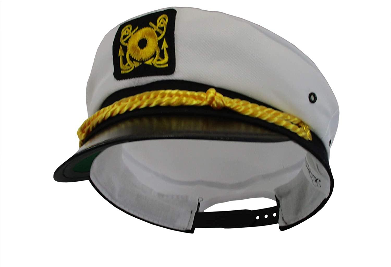 Adjustable Yacht Cap-White Captain Costume Hat
