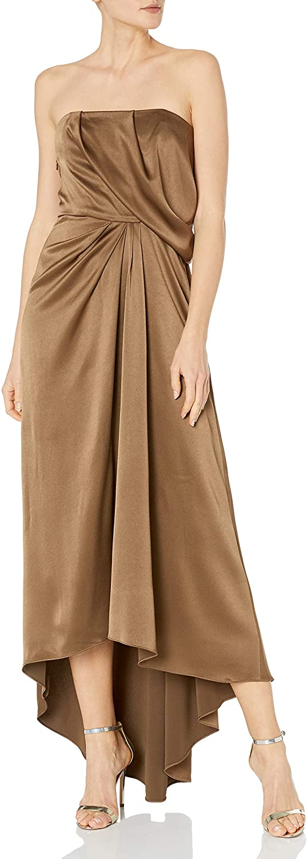 Halston Heritage Women's Strapless Draped Satin Gown