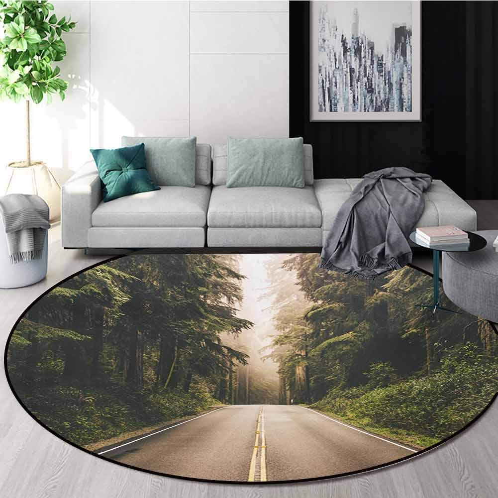 RUGSMAT Adventure Carpet Gray Round Area Rug,Straight Highway in Northern California United States Nature Photography Pattern Floor Seat Pad Home Decorative Indoor,Diameter-39 Inch