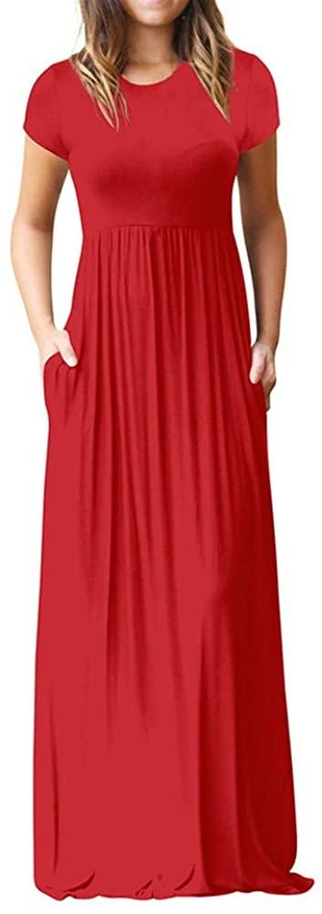 Auimank Half Skirts for Women 2019 Women O Neck Casual Pockets Short Sleeve Floor Length Dress Loose Party Dress