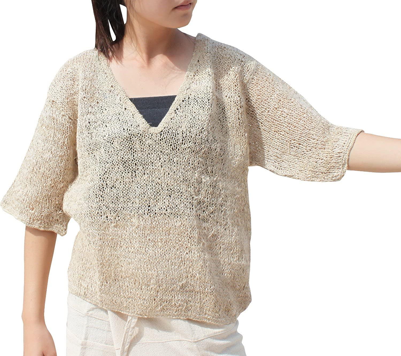 Svenine Loosly Knitted Natural Hemp Yarn Deep V Collar Shirt Size L Light Brown