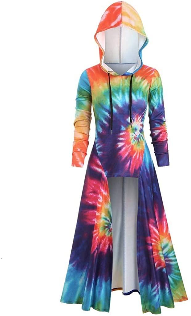 aihihe Womens Halloween Costumes Hoodies Dresses Long Sleeve High Low Medieval Dress Hooded Cloak Dress Pullover