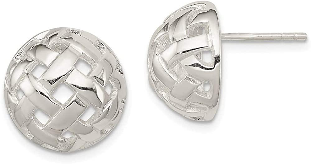 Sterling Silver 14mm Fancy Ball Post Earrings