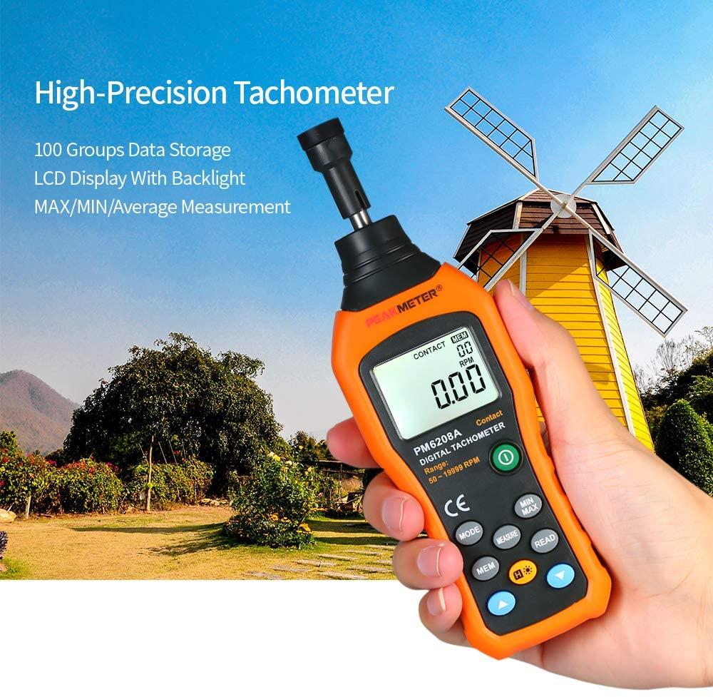 Tachometer, KKmoon Digital Tachometer Handheld Contact Motor Tachometer LCD Speedometer Tach RPM Meter Contact-type Digital Tachometer Wide Measuring Rang 50~19999rpm