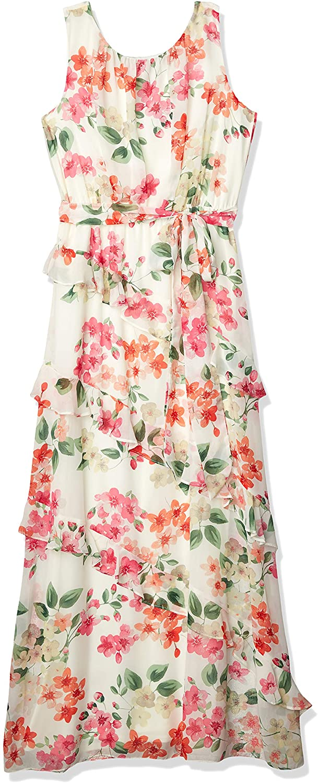 Jessica Howard Women's Sleeveless Shirred Neck Tie Waist Maxi Dress