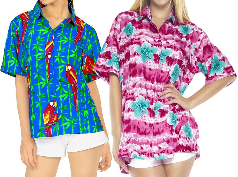 LA LEELA Women's Swim Hawaiian Shirt Tank Tunic Blouse Tops Cover Up Work from Home Clothes Women Beach Shirt Blouse Shirt Combo Pack of 2 Size L