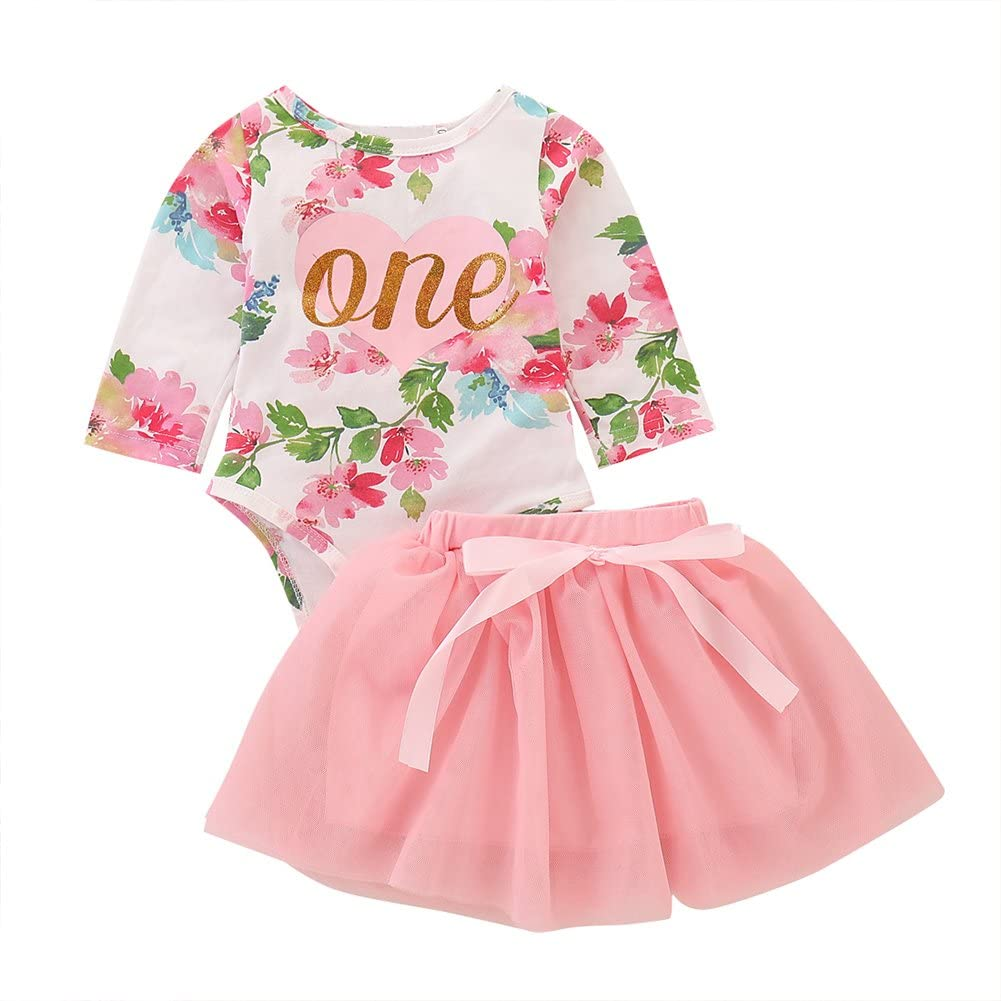 ODASDO Newborn Baby Girls First 1st Birthday Party Cake Smash Outfit Floral One Romper + Pink Tutu Skirt 2pcs Set