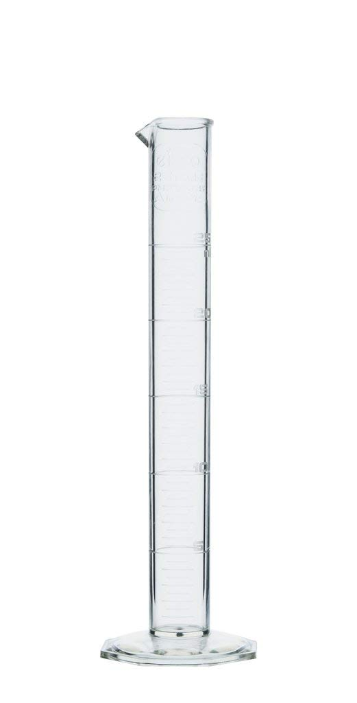 Measuring Cylinder, 25ml - Class A Tolerance - Octagonal Base - TPX Plastic - Industrial Quality, Autoclavable - Eisco Labs