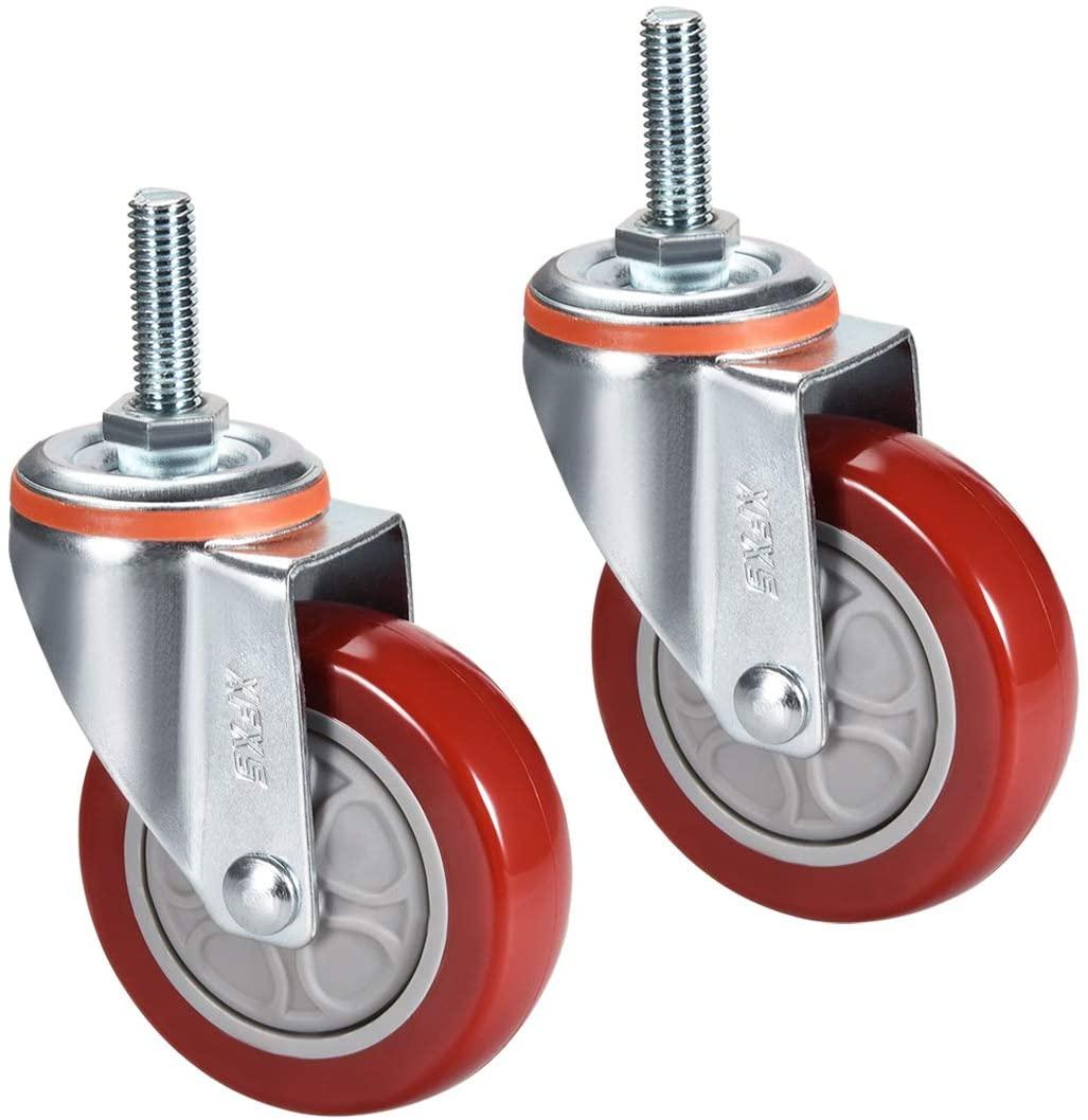 uxcell Swivel Caster Wheels PU Caster 3 Inch Dia Wheel M10 x 30mm Threaded Stem 264lb Capacity, 2pcs